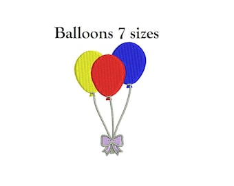 Balloons Embroidery Design - 7 sizes instant download Birthday Balloons Embroidery Design
