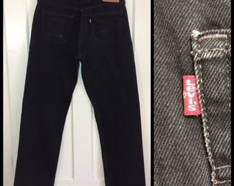 1990s Levi's 501 black denim 34X32, measures 33x32 straight leg button fly made in USA boyfriend jeans #333