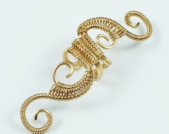 Woven Full Swirly Cuff - Gold