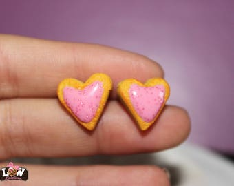 "Earring studs - Cookie ""heart"" and its pink ganache"
