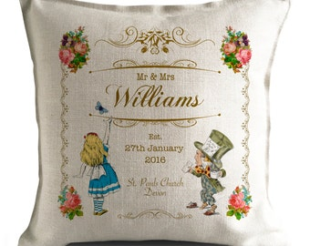 Alice in Wonderland Personalised Wedding Cushion Cover - Anniversary Cushion Gift - Mr and Mrs bride and groom - 16 inch 40cm