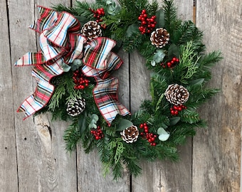 Artificial Christmas Wreath, Winter Wreath for Front Door, Christmas Wreaths for Front Door, Tartan Ribbon, Christmas Grapevine Wreath, Gift