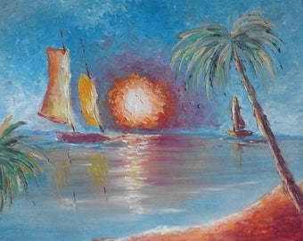 Beautiful sunset ,Original art ,Impressionistic art 49/39 sm or 19/15 in