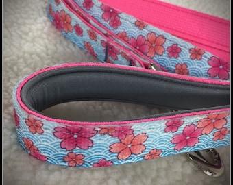 Large Pink Blossoms dog leash