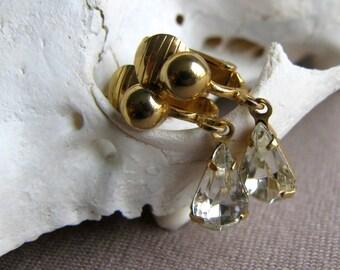 Rhinestone and Gold Earrings, Teardrop Earrings, 1950's Jewelry, Bridal Jewelry