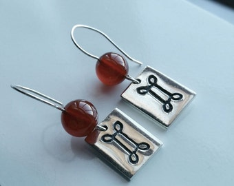 Red Ball Earrings - Silver Dangle Earrings - Vintage Signed Earrings - Engraved Earrings - Forbes Earrings - Rectangle Earrings