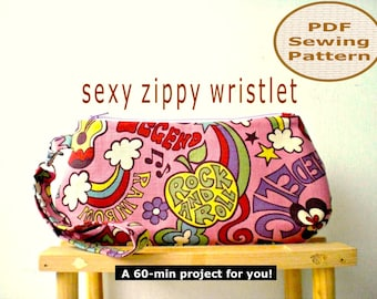 Sexy Zippy Wristlet INSTANT DOWNLOAD - PDF Sewing Pattern And Tutorial