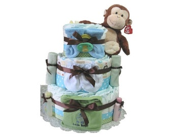 Monkey baby diaper cake, Monkey Diaper Cake, Blue diaper cake, Green Diaper Cake, Baby Shower Diaper Cake, Baby Shower Centerpiece