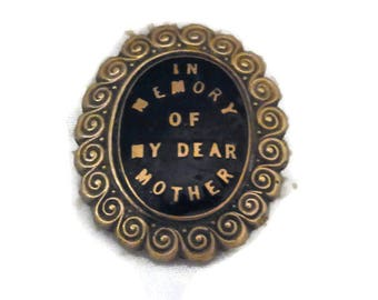 Antique English Victorian Mourning Brooch circa 1890s - In Memory of My Dear Mother - English Mourning Brooch.  Estate Jewellery.