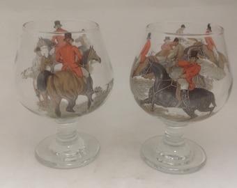 Herring Hunting Toughned 2 Brandy Glasses