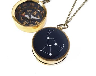 Large Working Compass Necklace with Personalized Star Design Constellation, Custom Zodiac, Choose Your Constellation, Antiqued Brass Chain