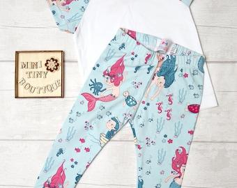 Organic Mermaid Baby clothing set / Organic Baby Leggings and t-shirt  / Organic cotton t-shirt / Organic baby cuff leggings