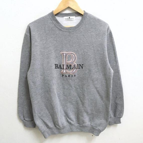 Jumper Pierre Colour Big Medium Sweatshirts Paris Size Balmain RARE Logo Crew Embroidery Grey Neck Pullover 4fdqPxFwc