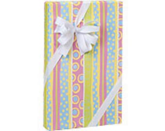 Snuggle Stripe Baby Shower  Gift Wrap Wrapping Paper-18ft Roll w. 20Gift Tags