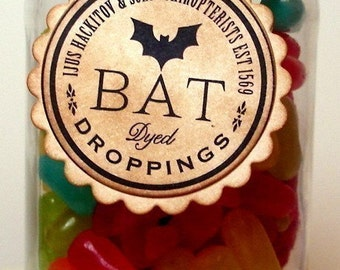 Vintage Halloween Tags/Labels/ Dyed Bats Droppings/ Set of 6/ Halloween Wedding Favor Tags Decorations