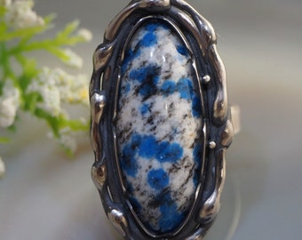 K2 Jasper Azurite Ring Statement Stone Sterling Silver Jewelry