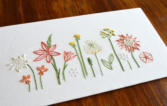 Wild Flowers Hand Embroidery Pattern Modern Embroidery