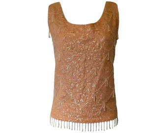 Vintage 60s Top Beaded Blouse Sleeveless Sequined Peach Pink Size Small