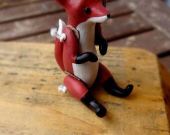 Little fox polymer clay doll
