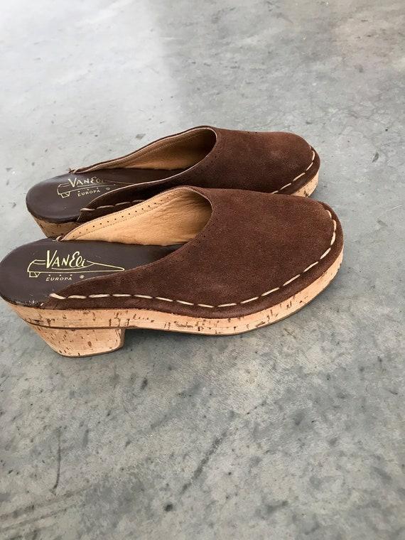 Leather Mules Clogs Clogs 7M Mules SZ Vaneli Brown M Cork Brown Shoes Shoes Vaneli Vaneli 7 Zq5Sc