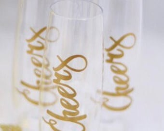 Cheers Champagne flutes (set of 2)