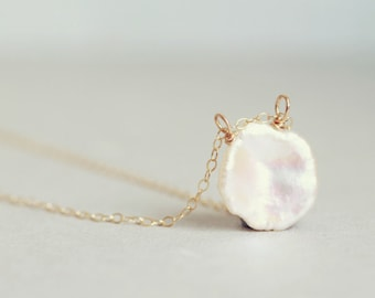 Keishi pearl petal pendant necklace on 14K goldfilled chain