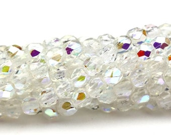 Czech Glass Beads Fire Polished Faceted Rounds 3mm Crystal AB (50) CZF457