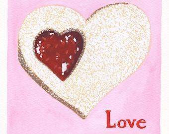 Original Art, Heart Love Linzer Cookie, Square Gouache Painting