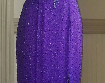 90's Prom Dress Purple Beaded Cutouts -Alyce Designs