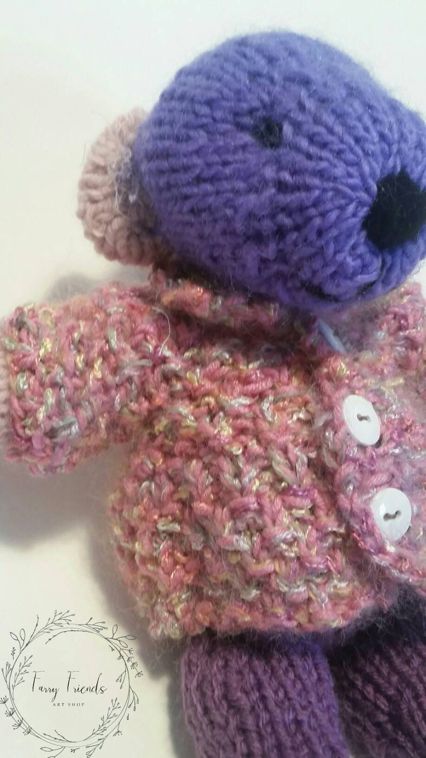 Sammy The Purple Hand Knit Wool Stuffed Teddy Bear With a Pink Wool Sweater