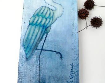 Acrylic painting, original artwork, home decor, collectible artwork on cradled wood panel 12 x 6, kids room decor, unique, Blue bird II