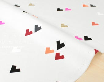 Japanese Fabric Geo Hearts - white - 50cm