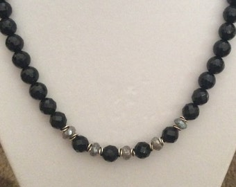 Faceted Onyx, Sterling Silver and Laboradite Necklace