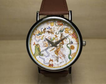 Astrology Watch. Astrology Jewelry. Astrology Gifts. Astrology Chart. Mens Watch. Women Watches. Vintage Style. Vintage Print. Astronomy.