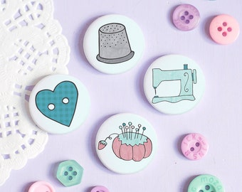 Sewing Button Badge Pins - Those Who Sew Collection - Gift for sewing fans
