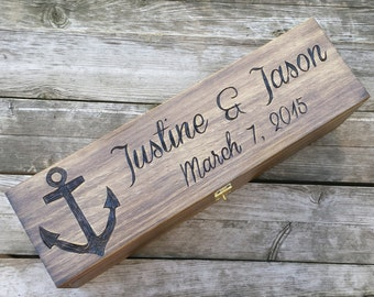 Nautical wedding wine box, rustic anchor wine box, wine box ceremony, personalized wine box, love letter ceremony, Wedding anniversary gift