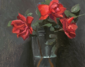 Still life painting with frame - Roses in Drinking Glass