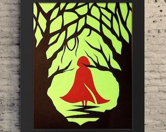 "8.5x11""  Red Riding Hood Art, Riding Hood Paper Cutout, Paper Cutout Illustration, Fairytale Story Illustration, Riding Hood Gift, Big Bad"