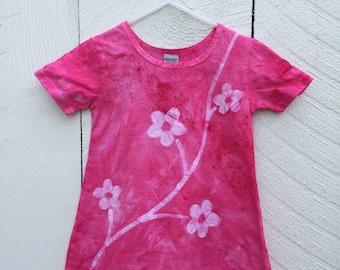 Rosa Mädchen Kleid, Mädchen Blume, Blumen-Mädchen Kleinkind Mädchen Kleid, rosa Blume Batik Mädchen Kleid Mädchen rosa Kleid (2 t)