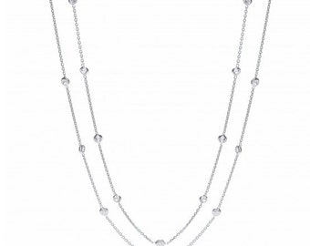 """Sterling Silver 23 Cz's Chain Necklace 40"""""""