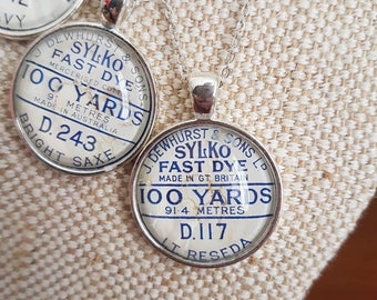 Sylko pendants / sewing theme gifts / silvertone cabochon pendants / choose one / upcycled cotton thread labels