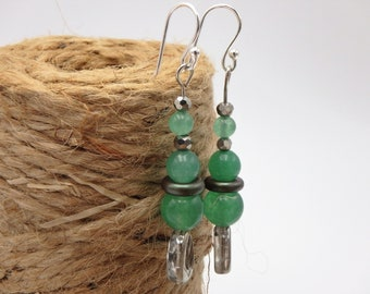 aventurine dangle earrings, stacked earrings (free shipping)