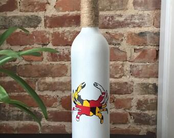 Maryland Flag Crab Painted Wine Bottle Decor