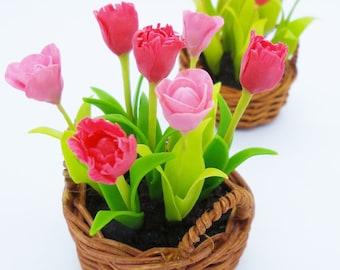Miniature Polymer Clay Flowers Spring Blooming Tulip, 1 Basket