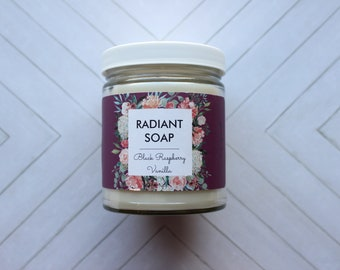 Black Raspberry Vanilla soy candle - container jar candle - fruity and vanilla scented candle