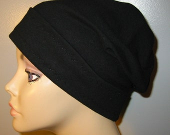 Black Slouch Chemo Hat Chemo Cap, Cancer Hat, Alopecia, Modest Hat,
