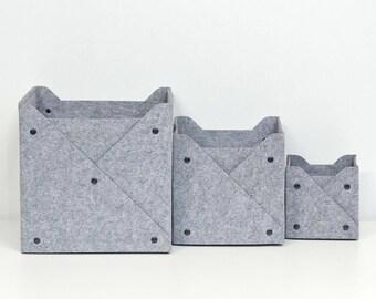 Storage Bin with Buttons /Organizer /Felt Сollapsible box