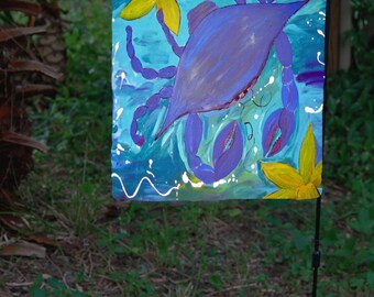 Islanld Blue Crab and Starfish yard flag from my art. Available in 2 sizes