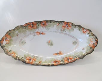 Beautiful Poppies Long Serving Bowl Plate  Bowl with Open Handles Antique Plates Malmaison Germany JTC Makers Mark