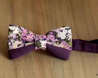 Bow 44. Flores en lila/ Lilac flowers/ Fleurs de lilas. Pajarita hecha a mano con tela de algodón de gran calidad.
